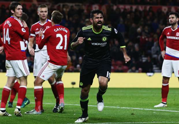 Middlesbrough 0-1 Chelsea: Diego Costa puts Conte's men top