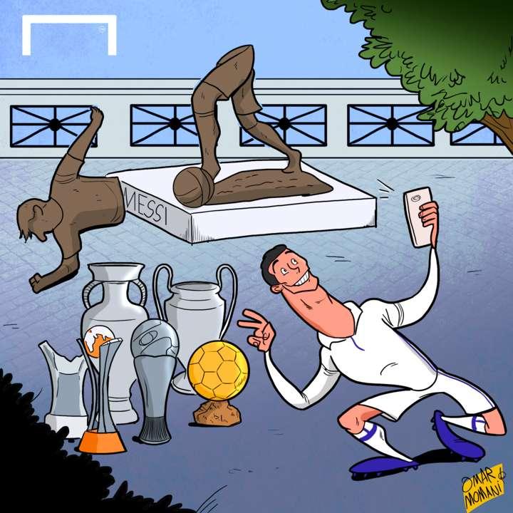 Cristiano Ronaldo Lionel Messi statue cartoon