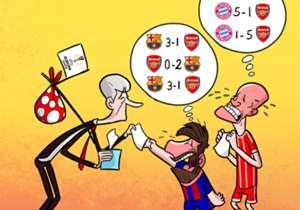 Die Gunners spielen in der kommenden Saison nur in der Europa League. Barca und Bayern gefällt das far nicht: Sie müssen sich nun andere Schießbuden suchen...