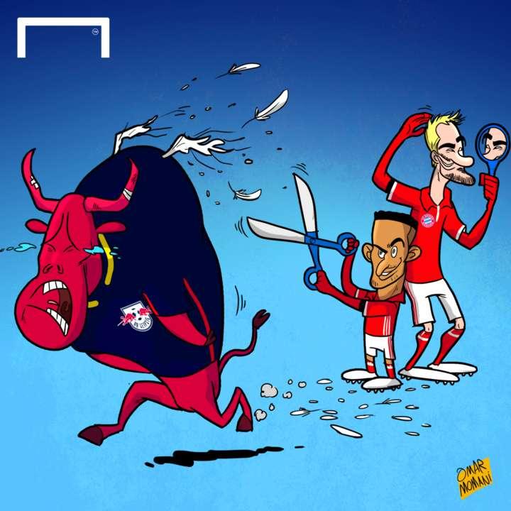 Cartoon Bayern and the bull of RB Leipzig