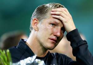 Bastian Schweinsteiger couldn't hold back the tears as he received an emotional send-off during his final appearance for Germany, in a friendly against Finland.