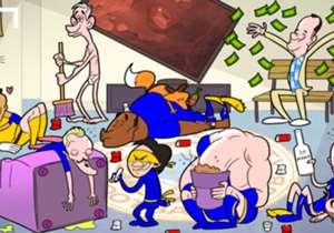 3 DE MAYO | Los jugadores de Leicester intentan manejar la resaca post-festejos, mientras Forest Gump festeja la fortuna que hizo con los Foxes. Gary Lineker limpia el desorden en ropa interior, como prometió presentar su programa si los de Ranieri con...