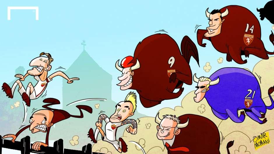 CARTOON Bulls on parade