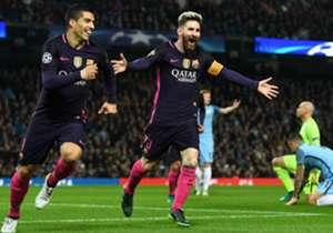 16) Manchester City 3 x 1 Barcelona | Champions League | 01/11/2016 | Depois de dar show no Camp Nou contra o City, o craque argentino abriu o placar para o Barça na casa do rival, mas parou por aí e não conseguiu evitar a derrota do time catalão de vi...