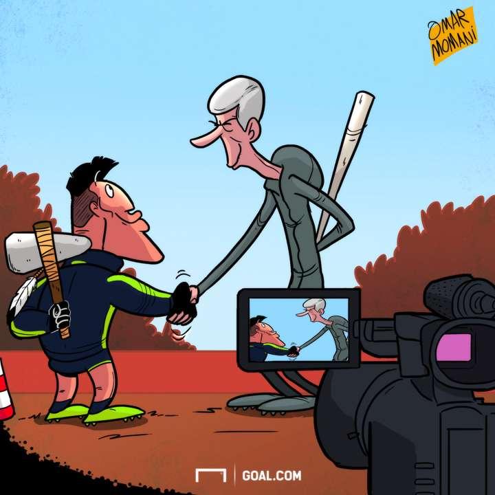 Arsene Wenger Alexis Sanchez cartoon