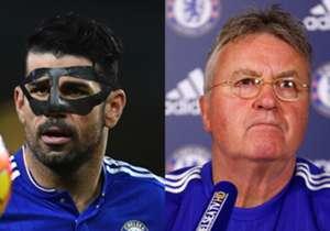"""Guus Hiddink sprach von einem """"Zorro-Team"""", nachdem sich Chelsea-Stürmer Diego Costa die Nase gebrochen hatte. Damit ist er nicht der Erste, wie unsere Galerie zeigt."""