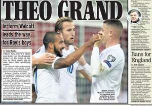 <strong>DAILY EXPRESS | England | THEO GRANDE |</strong> In-form Walcott leads the way for England <br />PLUS: <strong>Klopp lays down the law at Liverpool | Tough test for Allardyce at Sunderland </strong>