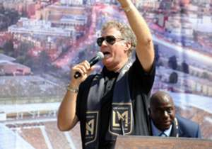 Actor and LAFC part owner Will Ferrell rallies the crowd.