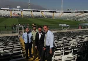 Este lunes se realizó la inspección del Estadio Monumental de cara al partido de Chile ante Venezuela, con presencia del Intendente Claudio Orrego y el director de la ANFP Hugo Muñoz.