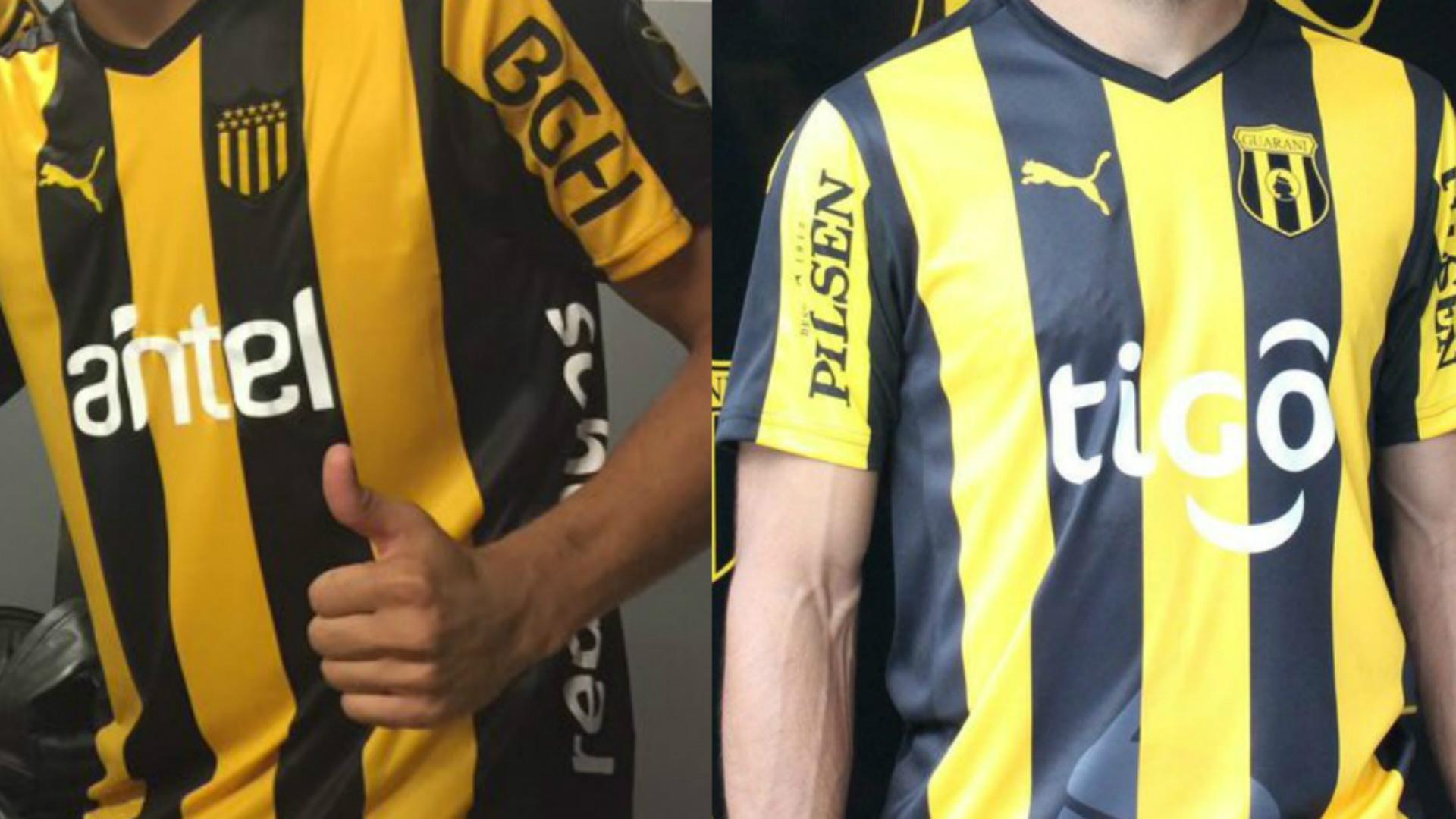 Las camisetas Puma de Peñarol y Guaraní despertaron polémica por su parecido