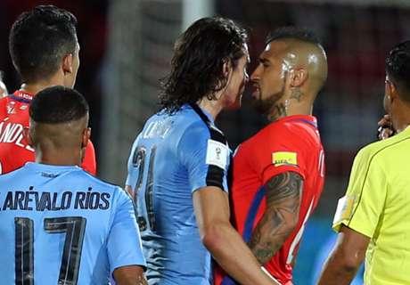 Cavani y Vidal se cruzaron feo