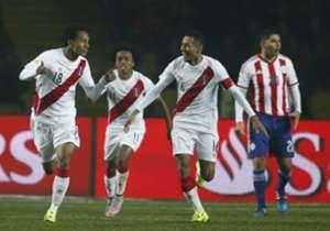 El festejo de los jugadores peruanos.
