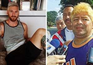 Coincidência ou não, Messi e Maradona voltam a estar unidos por questões extracampo,desta vez pela cor do cabelo