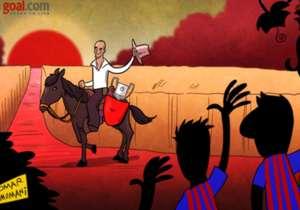 En el día de su cumpleaños, un repaso por los mejores cartoons de Guardiola, cortesía de Omar Momani. El primero, cuando se despidió de Barcelona.