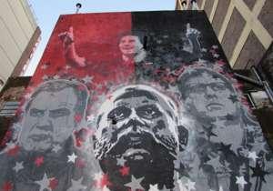 En la pintura, de 10 metros de alto, también aparecen Marcelo Bielsa, Gerardo Martino y el fundador de la Lepra, Isaac Newell.