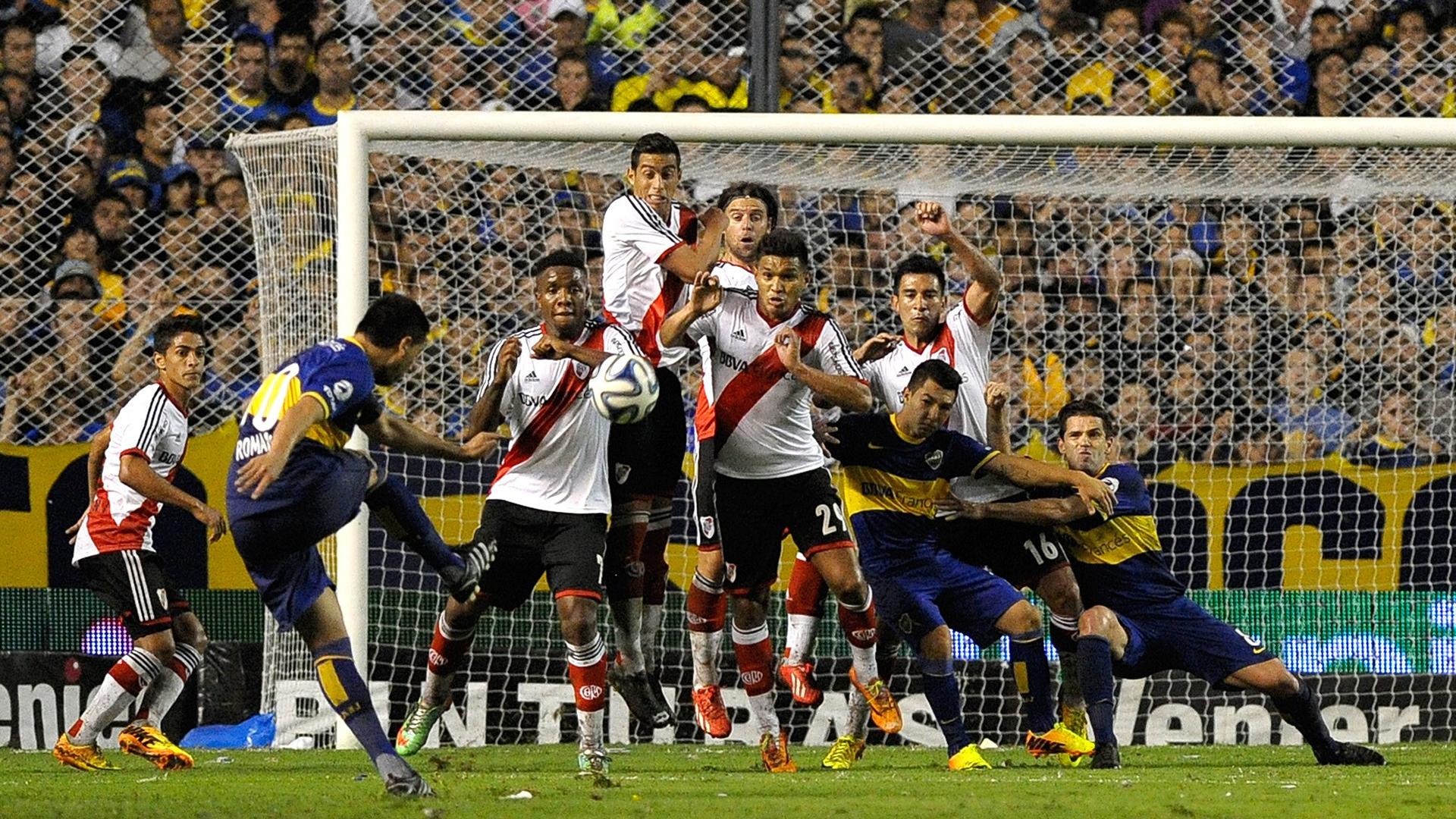 Juan Roman Riquelme Boca Juniors River Plate Torneo Final 2014 - Goal ...