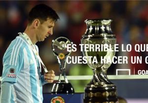 """Lionel Messi: """"Es terrible lo que me cuesta hacer un gol con la Selección""""."""