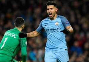 20) Manchester City 5-3 Monaco | Champions League | 21/2/2017 | El argentino aprovechó un error del arquero Subasic para gritar el empate parcial para el City.