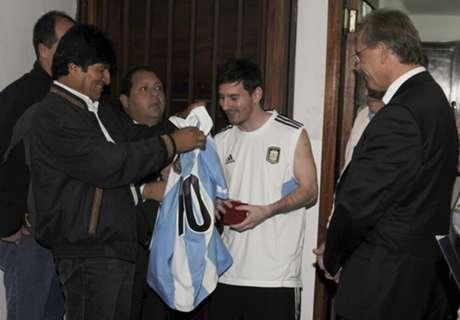 Bolivia president slams Messi ban
