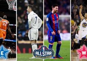 """¿Cuáles serían los """"equivalentes"""" en el fútbol a los 10 jugadores elegidos como titulares para el juego de las estrellas? A continuación, una comparación uno por uno entre los equipos del Este y el Oeste."""
