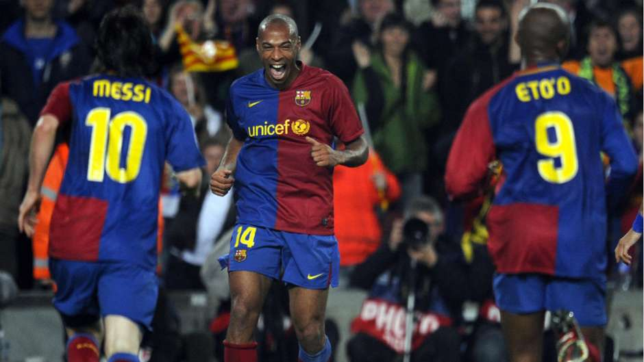 Image result for Lionel Messi, Samuel Eto'o and Thierry Henry