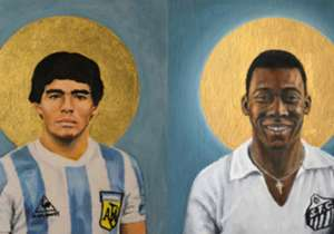 The Swiss artist David Diehl has bestowed sainthood among the world of football's most famous figures in his book 'Football Icons'. First, Diego Maradona and Pele...