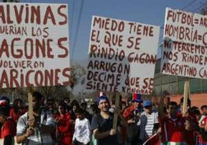 Chilenos apoiaram a sua seleção com bandeiraço