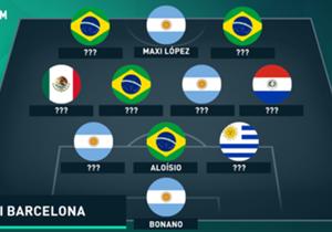 Cuando se viene La Liga, un repaso por los que menos rindieron: cuatro argentinos, cuatro brasileños, un mexicano, un paraguayo y un uruguayo. ¿Quiénes componen el anti once de latinos en Barcelona?