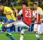 Números e pranchetas para Brasil 3 x 0 Paraguai