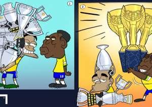 25 DE MAIO | Dani Alves provocou Pelé falando sobre seus títulos no Barcelona. Ele só se esqueceu que o Rei do Futebol tem mais taças que ele no geral, incluindo três Copas do Mundo, título que o lateral nunca conquistou