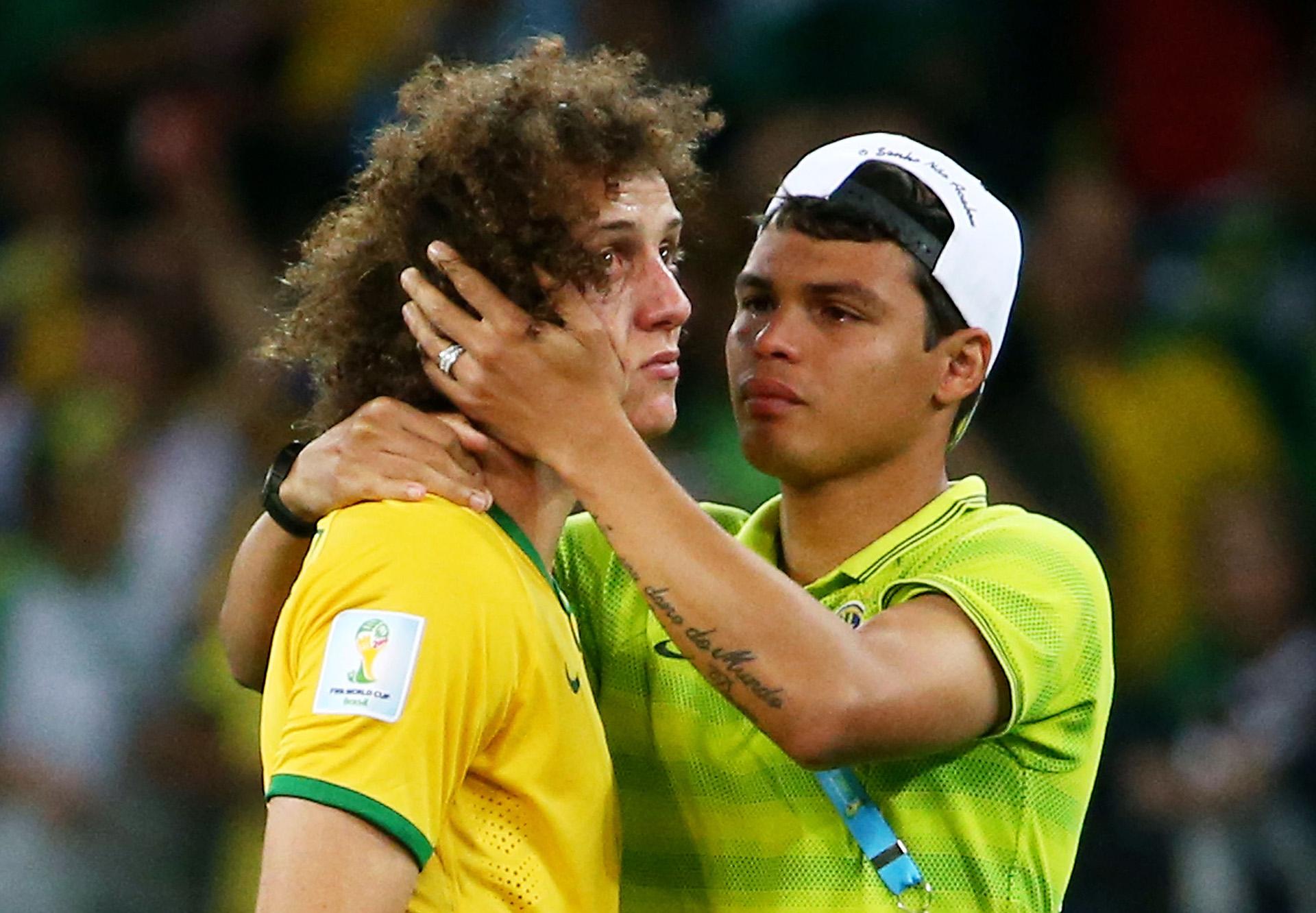 Thiago Silva consolates David Luiz Brazil Germany 2014 World Cup 07082014