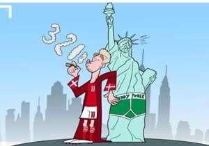 Atacante do Wolfsburg, o dinamarquês Nicklas Bendtner marca hat-trick em amistoso e tira onda com os Estados Unidos