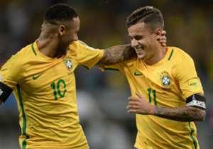 Neymar (l.) und Coutinho stürmen gemeinsam für die Selecao