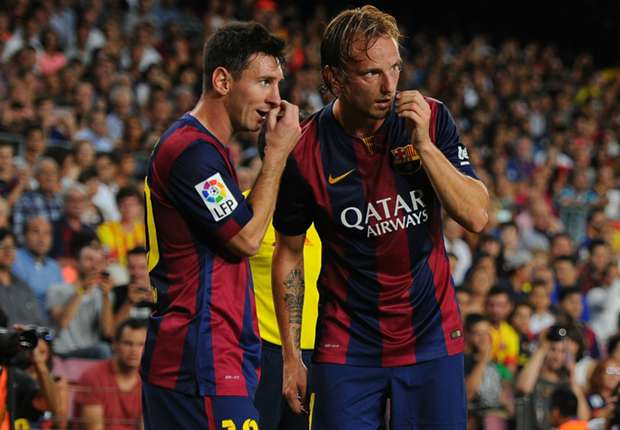 Lionel Messi und Ivan Rakitic vom FC Barcelona