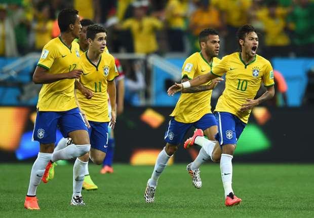 Kollektive Freude: Neymar wird nach seinem Treffer gefeiert