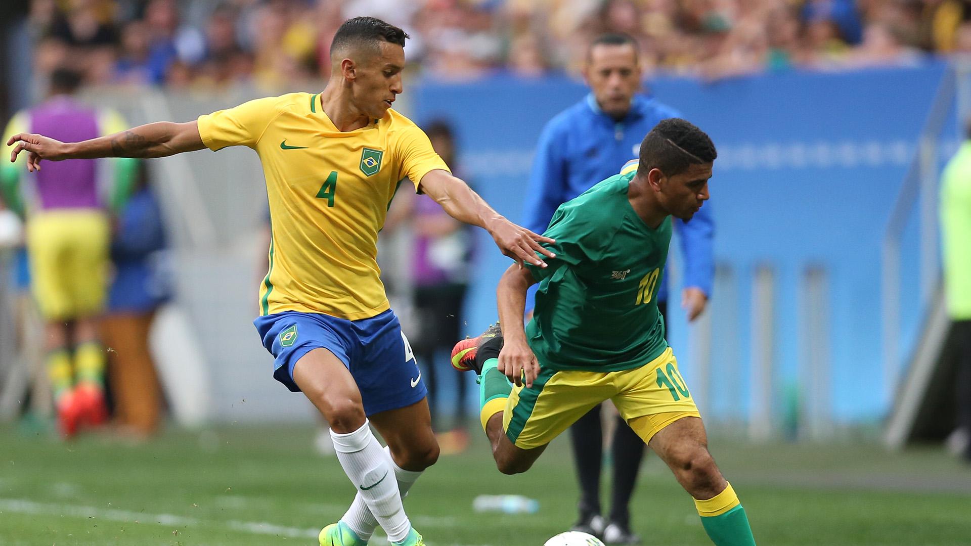 Guarding the gold Marquinhos and Rodrigo Caio leading Brazil at