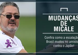 Durante o amistoso contra o Japão, que terminou com vitória do Brasil por 2 a 0, o técnico Rogério Micale fez várias substituições. Confira como a Seleção se postou em campo!