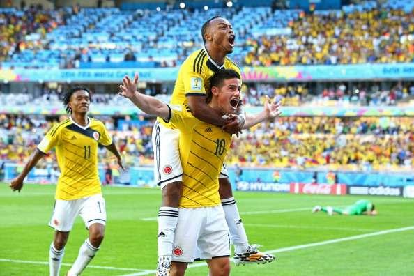 James Rodriguez nach seinem Tor gegen Griechenland