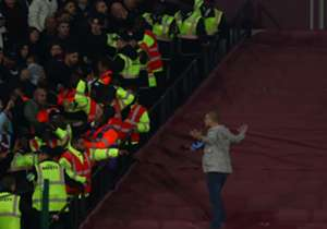 West Ham and Chelsea fans engaged in unsavoury chaos during the EFL Cup last 16 clash at the London Stadium on Wednesday night...