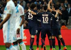 Les Parisiens marquent cinq buts au Vélodrome pour la première fois de leur histoire. Revivez ce Classique à sens unique en photos.