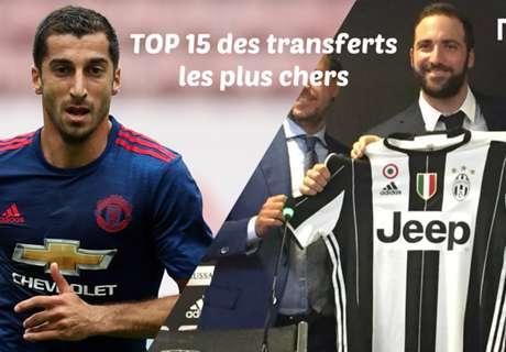 TOP 15 - Transferts les + chers 2016
