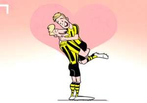 En revenant au Borussia Dortmund trois ans après l'avoir quitté, Mario Götze va retrouver son grand ami Marco Reus ! Et cela a inspiré notre dessinateur Omar Momani.