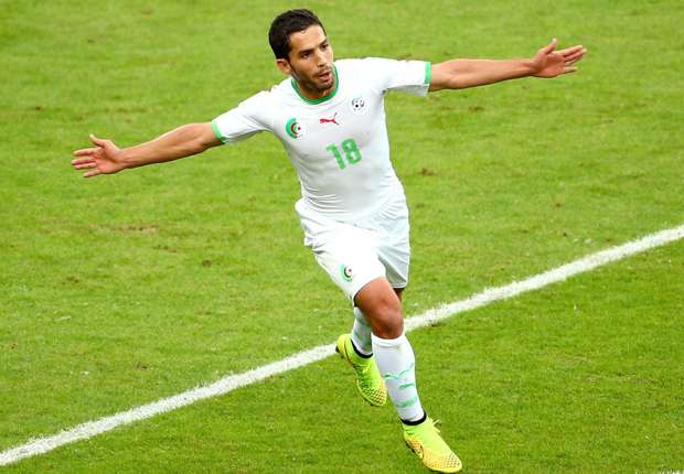 Djabou scored two of Algeria's seven goals at the 2014 World Cup in Brazil.