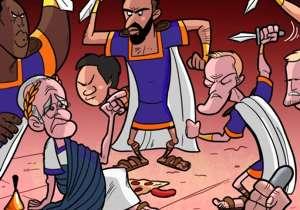 Le licenciement de Claudio Ranieri a inspiré notre dessinateur Omar Momani. On voit l'entraîneur italien, en empereur romain, se faire trahir par ses disciples.