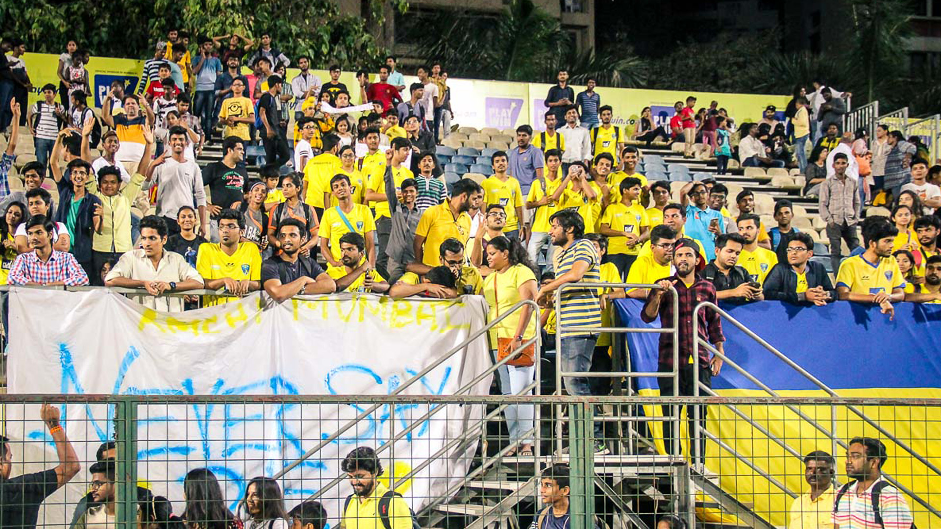 Mumbai FC supporters during I-League match against Churchill Brothers SC