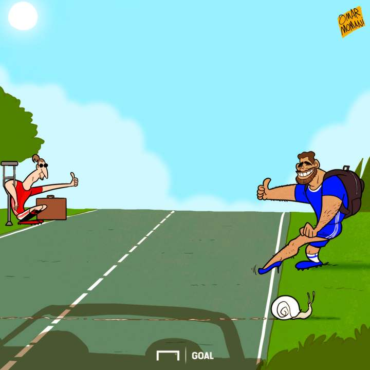 Cartoon Ibra and Costa asking for a ride
