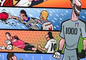 Gianluigi Buffon telah menembus 1000 caps sepanjang karirnya setelah mengantar timnas Italia menaklukkan Albania dalam laga lanjutan kualifikasi Piala Dunia 2018 zona Eropa. Sang Superman mencatatkan pencapaian historis itu bersama Parma, Juventus dant...