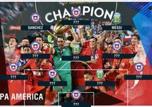 Copa America Centenario telah menelurkan sebelas pemain terbaik! Siapa saja yang bergabung bersama Lionel Messi dan Alexis Sanchez dalam formasi 4-3-3 ini?
