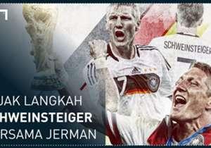 Setelah 12 tahun berseragam Jerman, Bastian Schweinsteiger resmi menutup karier internasionalnya pada Jumat (29/7) ini. <b>Goal Indonesia</b> merangkum momen-momen terbaik Schweinsteiger bersama <em>Die Mannschaft</em> dalam galeri berikut ini.