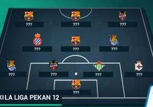 Kemenangan 4-0 Barcelona atas Real Madrid membuat mereka unggul empat poin di puncak klasemen sementara El Real tergusur ke posisi tiga. Inilah susunan tim terbaik jornada 12.